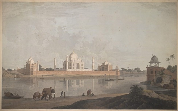 Coloured aquatint by Thomas and William Daniell of the Taj Mahal at Agra, dated 1801. Source: 